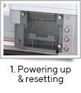 <strong>1. Powering up & resetting</strong><br />fill-it is quick and easy to set up, with a simple three button operation. <br />After turning the power on, simply press the RESET button and the fill-it will locate in the correct position ready for priming and calibration.